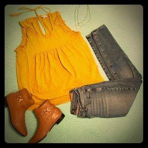 Lucky Brand yellow sleeveless top